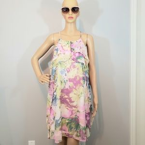 NWT BCBGMAXAZRIA Floral Ruffle Shift Dress